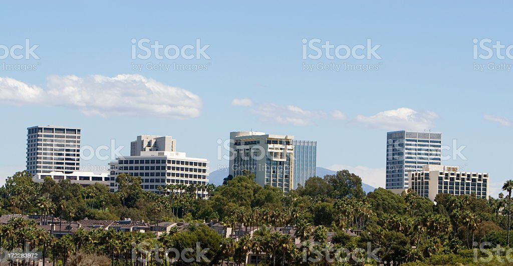 Outdoor photo of Orange County Fashion Island skyline stock photo