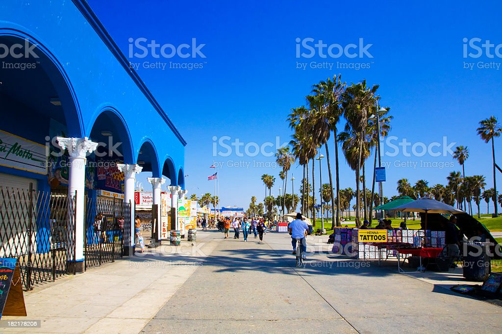 Outdoor photo Venice Beach Boulevard with blue sky stock photo