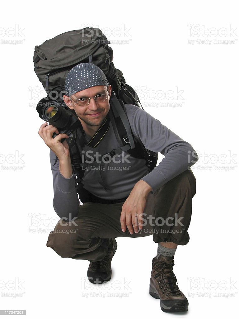 Outdoor photographer ready to work royalty-free stock photo