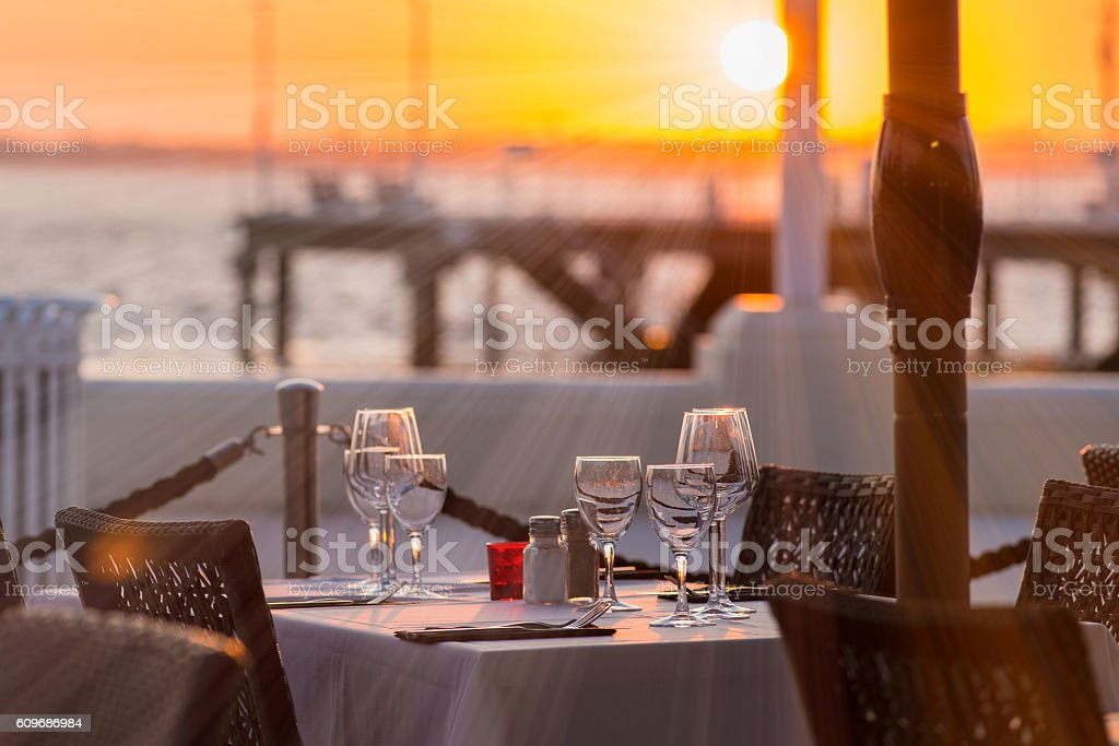 Outdoor place setting stock photo