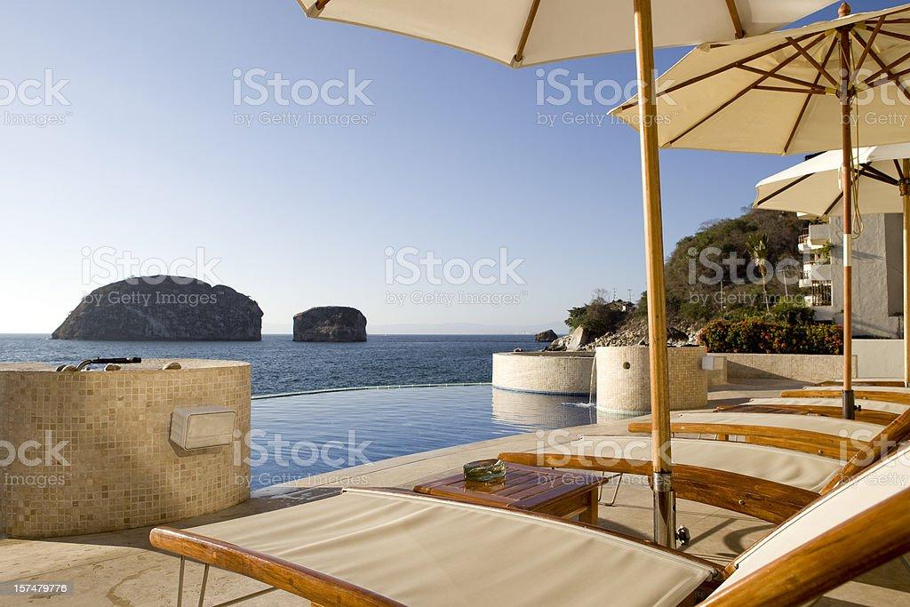 Outdoor Pool Lounge in Puerto Vallarta Mexico stock photo