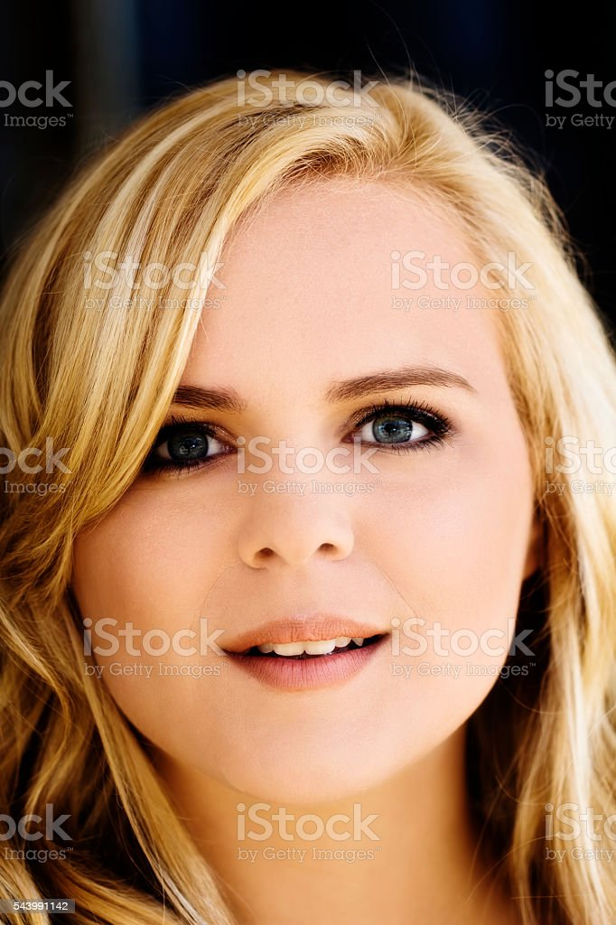 Outdoor Portrait Attractive Caucasian Blond Woman Round Face stock photo
