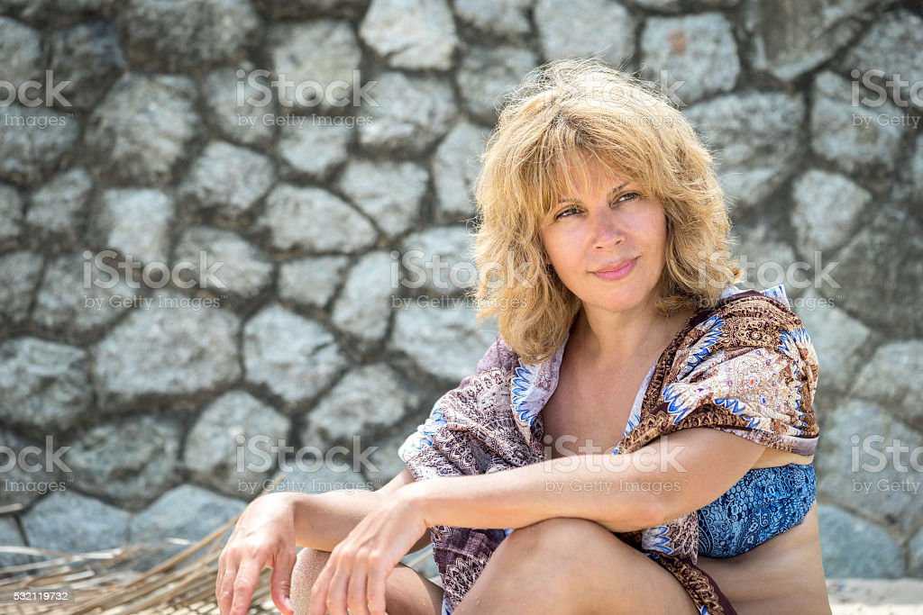 outdoor portrait of a beautiful adult woman stock photo