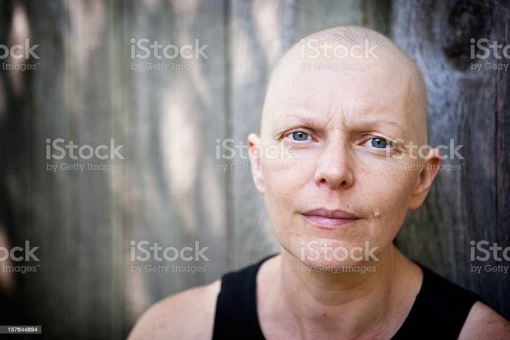 Outdoor portrait of a caucasian woman fighting breast cancer stock photo
