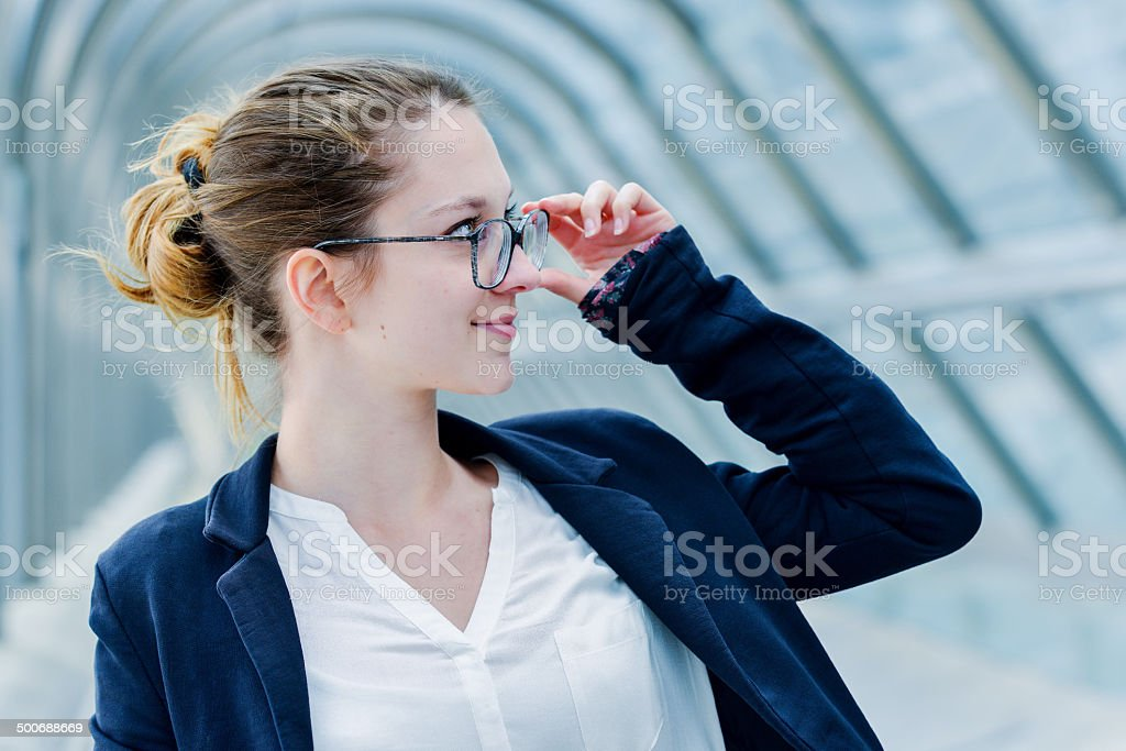 Outdoor portrait of a dynamic junior executive royalty-free stock photo