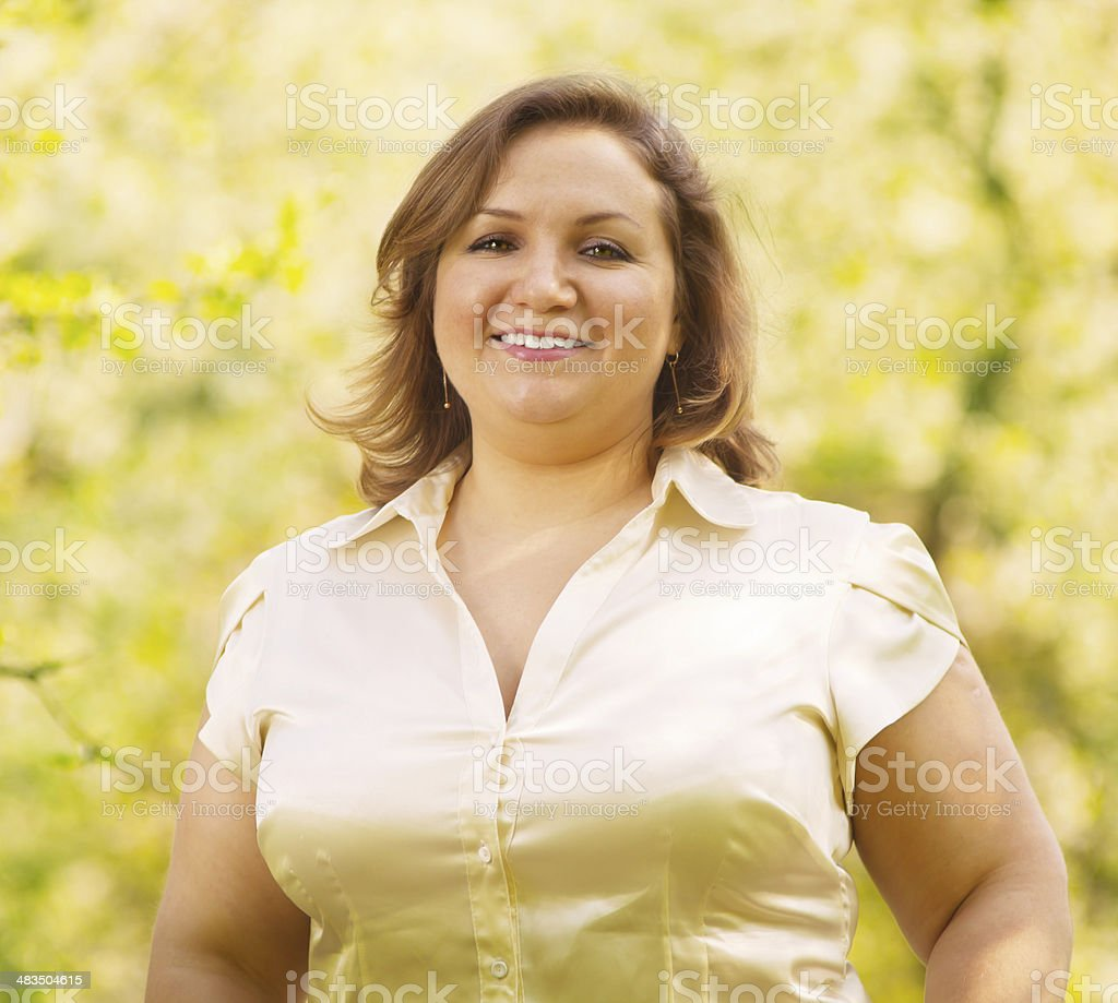 Outdoor portrait of a smiling businesswoman stock photo