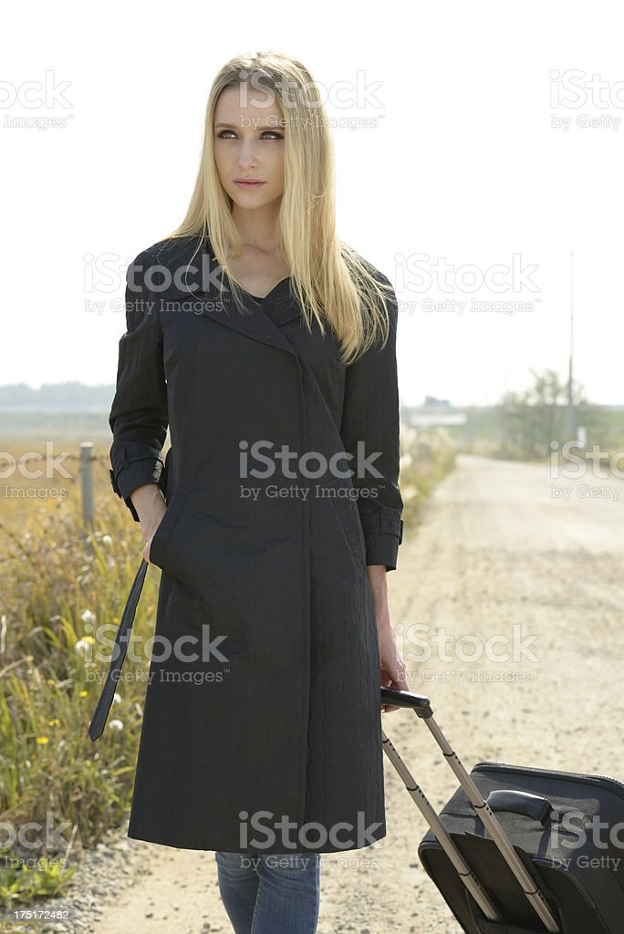 Outdoor portrait of a woman travelling stock photo