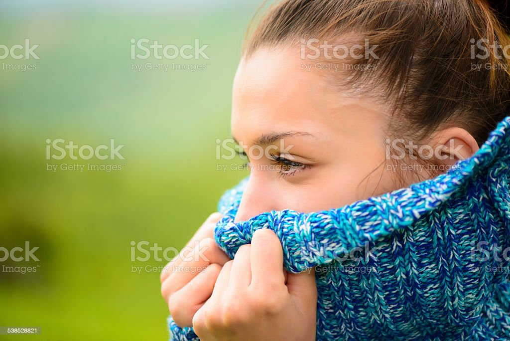 Outdoor portrait of a young woman stock photo