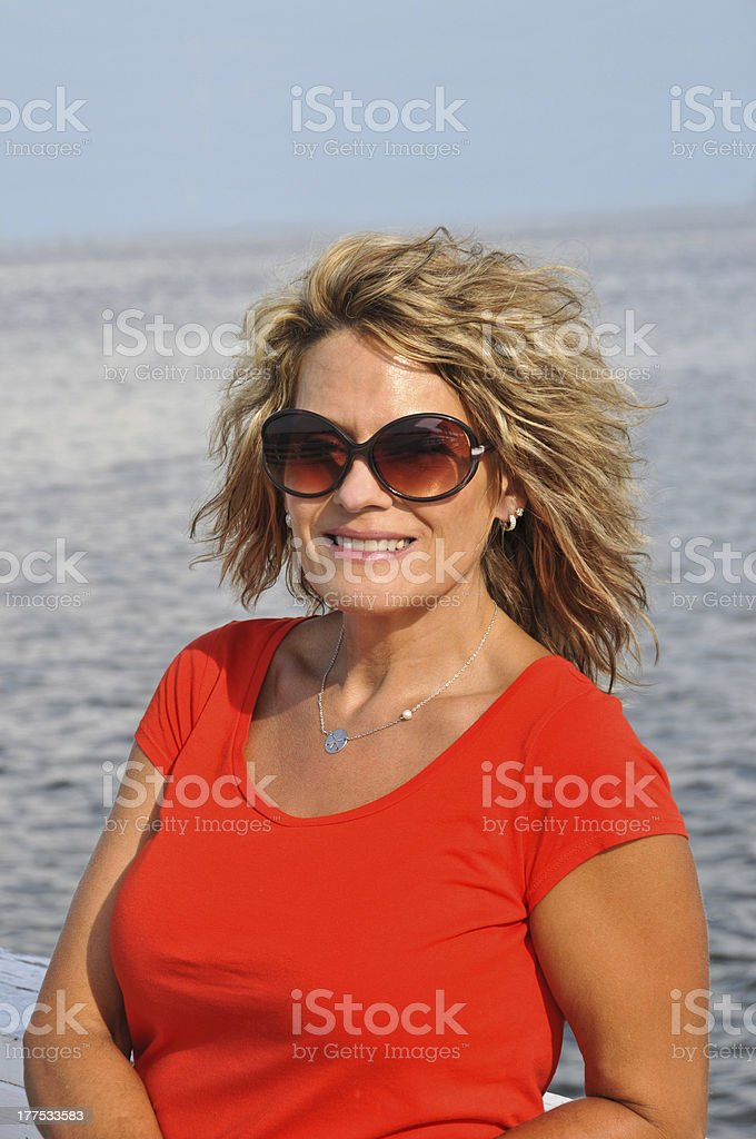 Outdoor Portrait of Attractive Middle Age Woman royalty-free stock photo