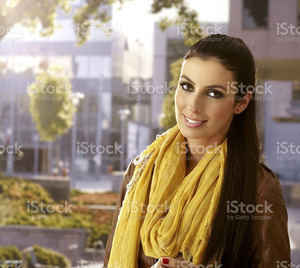Outdoor portrait of attractive woman royalty-free stock photo