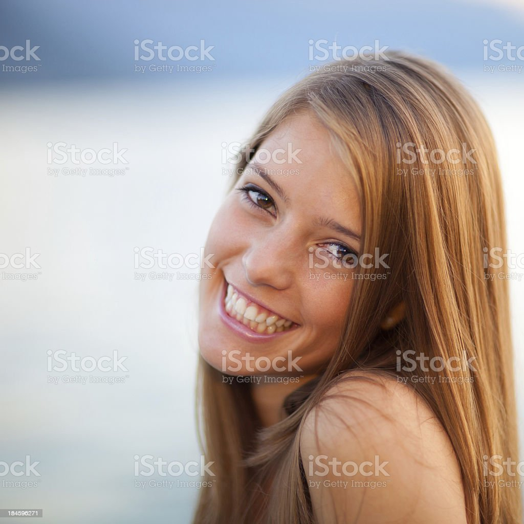 Outdoor portrait of beautiful happy girl royalty-free stock photo