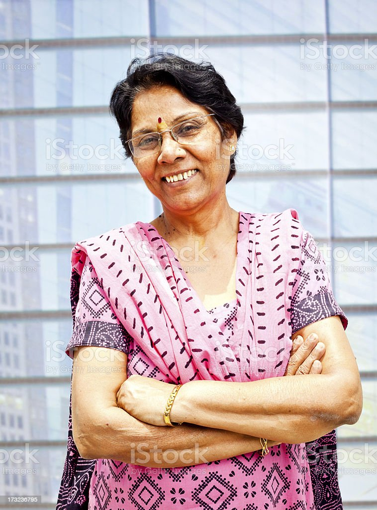 Outdoor Portrait of confident Senior Indian Woman stock photo