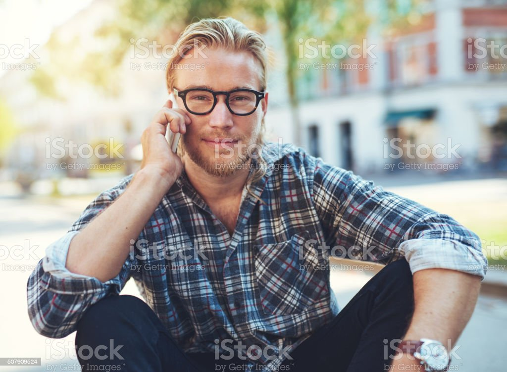 Outdoor portrait of modern young man stock photo