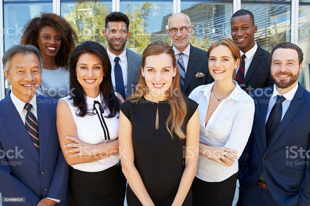 Outdoor Portrait Of Multi-Cultural Business Team stock photo