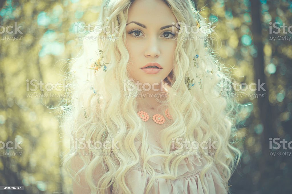 Outdoor portrait of young pretty woman stock photo