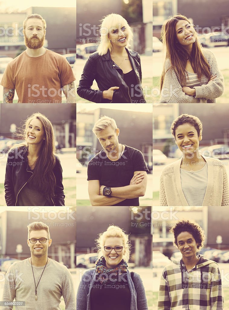 Outdoor portraits of nine mixed race young poeple stock photo