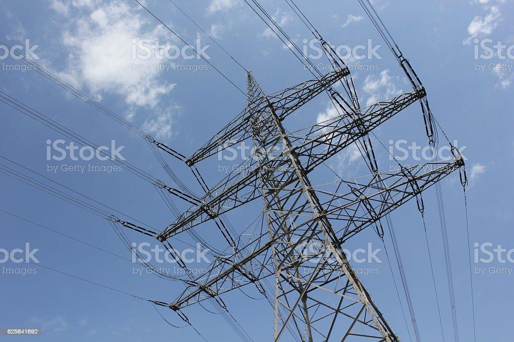 Outdoor power lines stock photo
