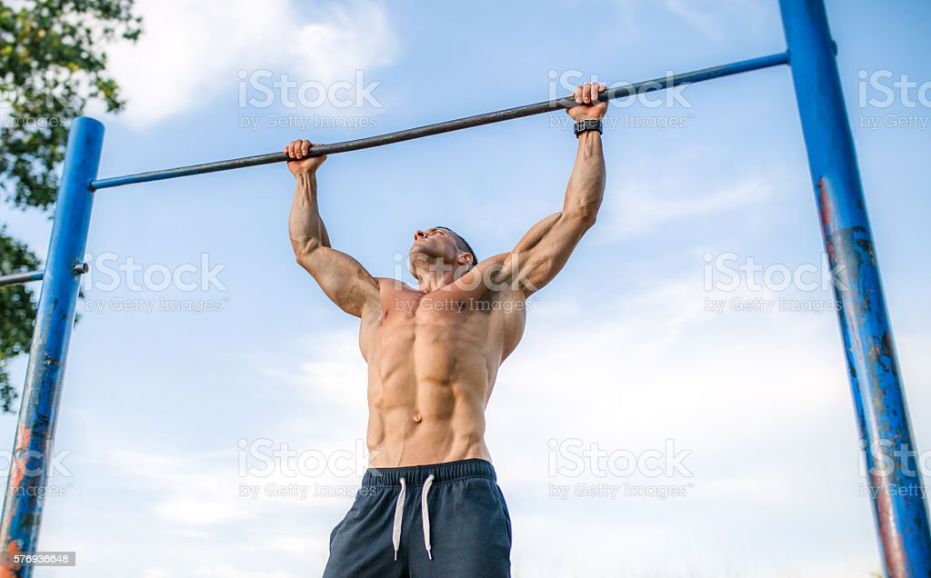 Outdoor pull ups stock photo