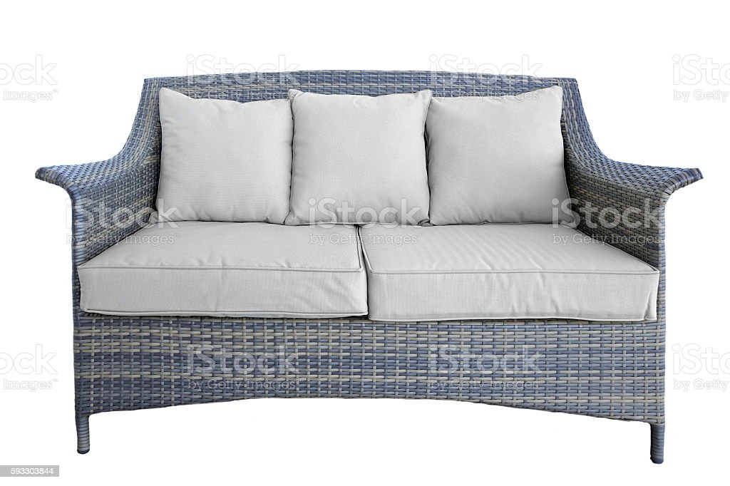 Outdoor Rattan Couch With Two Seat And Cushions, White Isolated stock photo