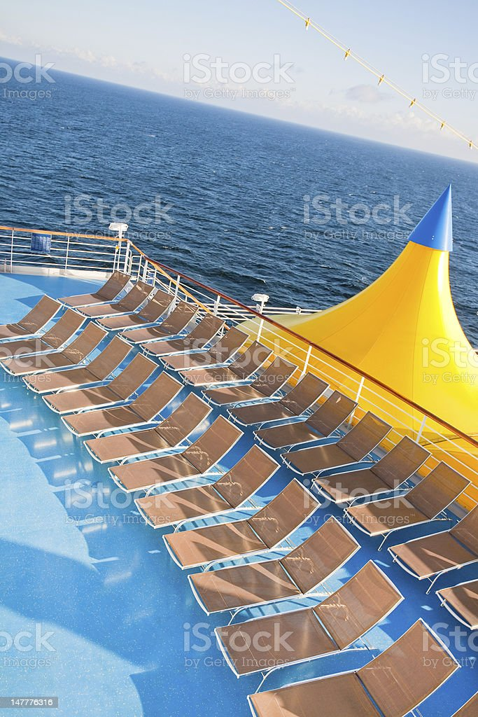 outdoor relaxation area of cruise liner stock photo