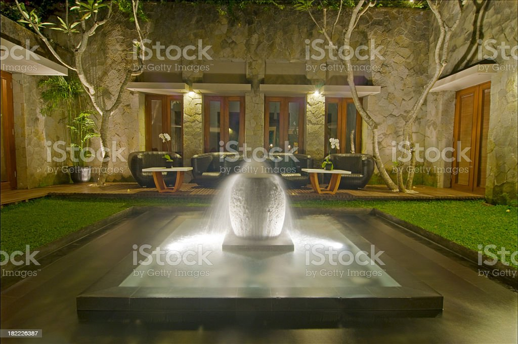 Outdoor relaxing area at Luxury Hotel royalty-free stock photo