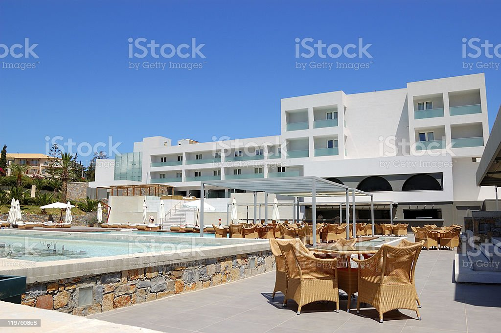 Outdoor restaurant at the modern luxury hotel, Crete, Greece royalty-free stock photo
