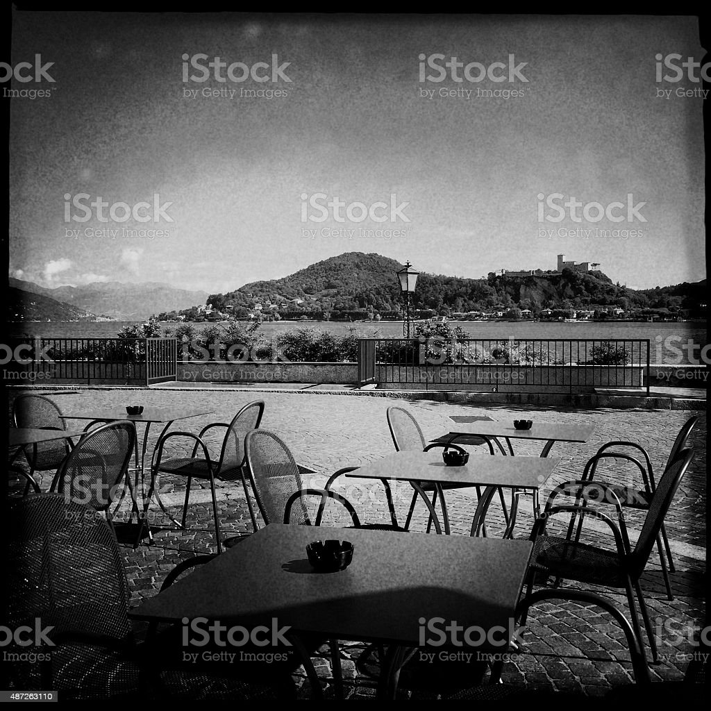 Outdoor Restaurant. Black and White stock photo