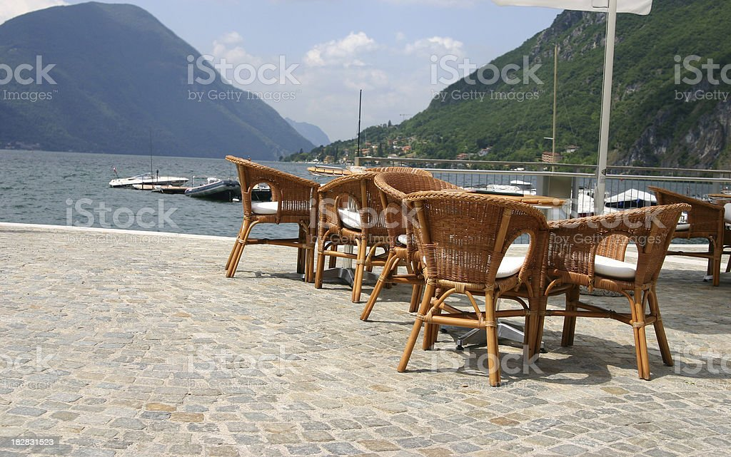 Outdoor restaurant near lake royalty-free stock photo