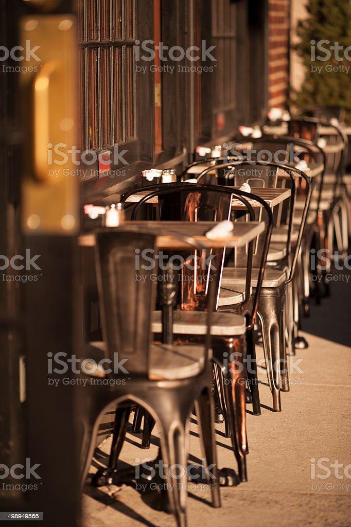 Outdoor Restaurant Seating in West Village Manhattan stock photo