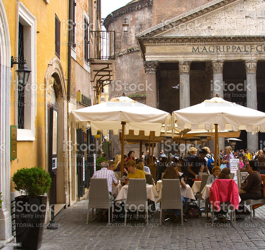 Outdoor Restaurant with Umbrellas at the Pantheon, Rome, Italy stock photo