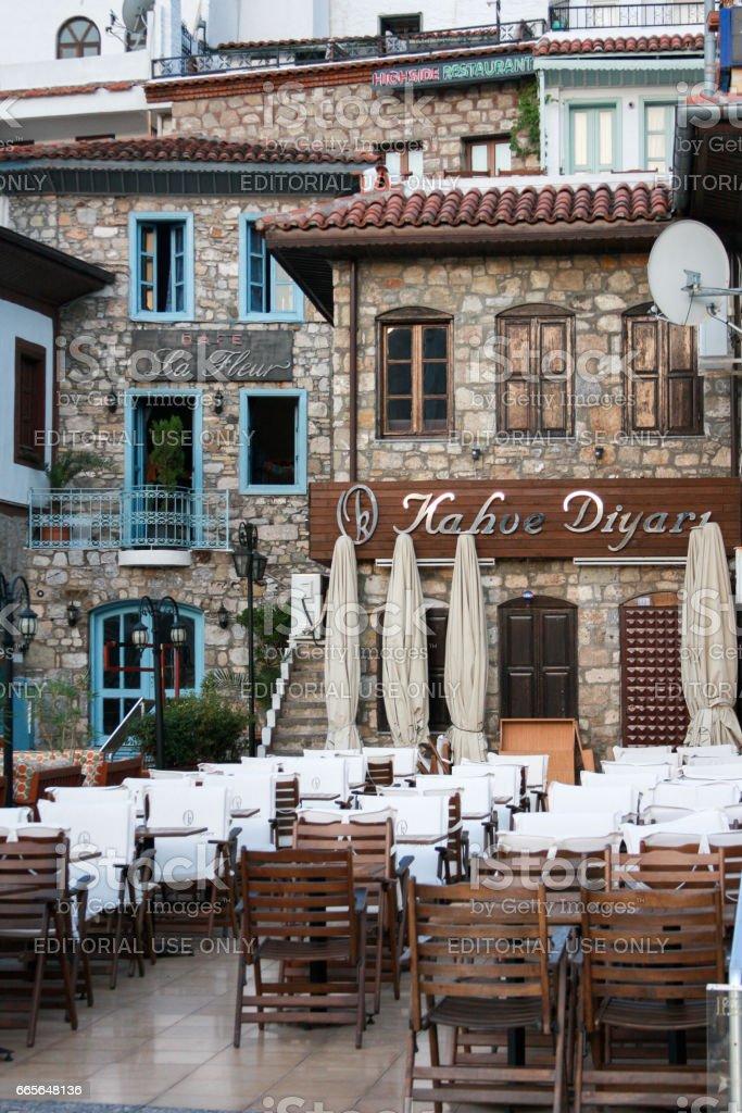 Outdoor restaurants on old streets of Marmaris stock photo