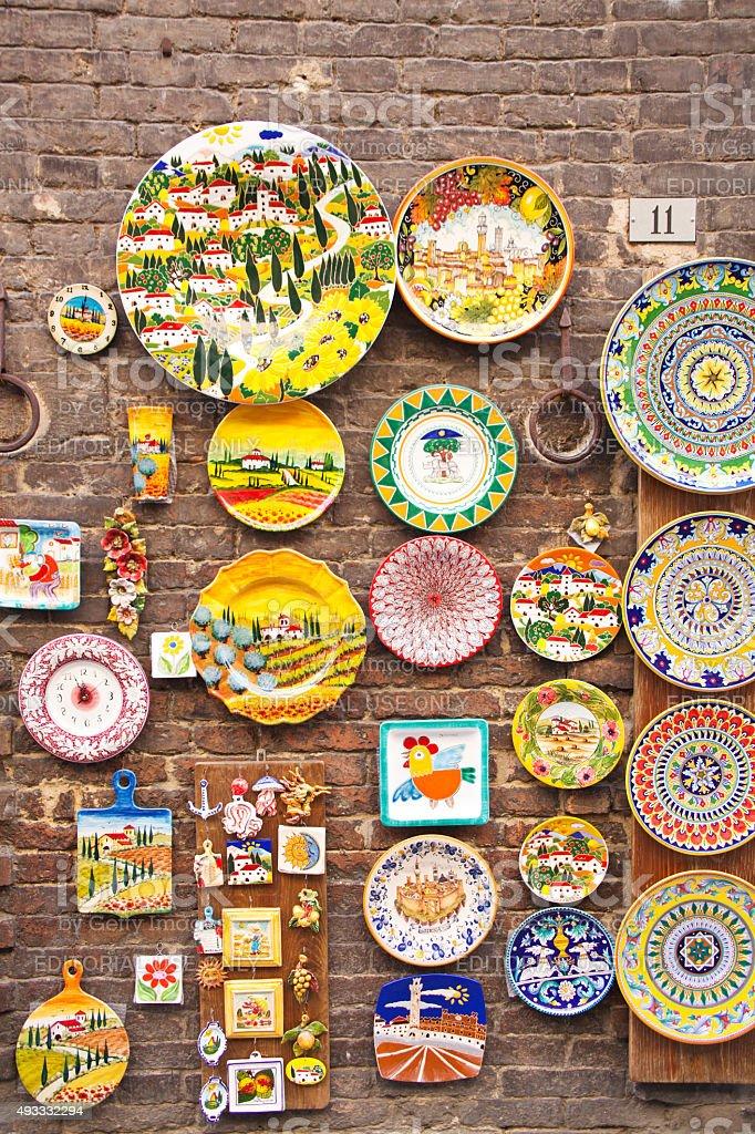 Outdoor Retail Display of Tourist Souvenir Shop in Siena, Italy stock photo