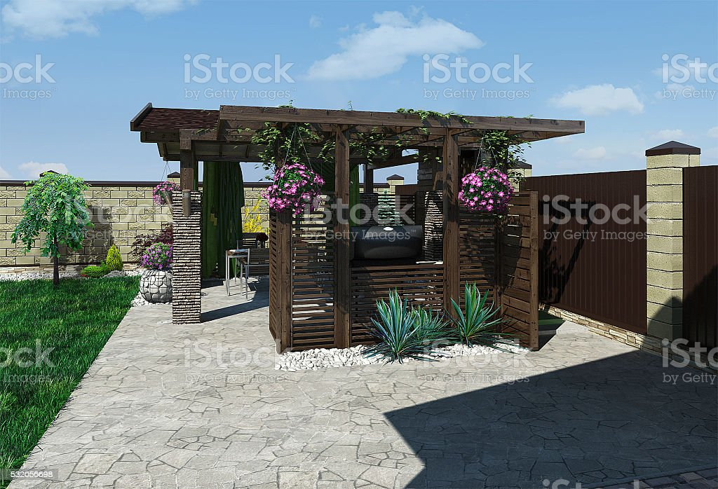 Outdoor seating area, 3d rendering stock photo