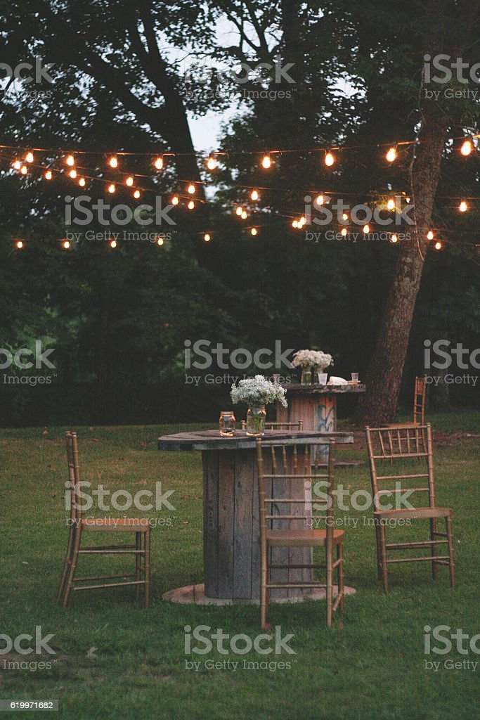 Outdoor Seating Area at Dusk stock photo