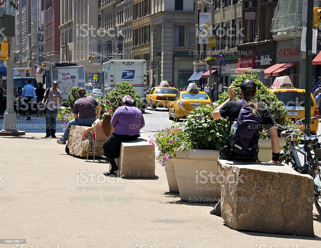 Outdoor seating in a plaza, New York City style. stock photo
