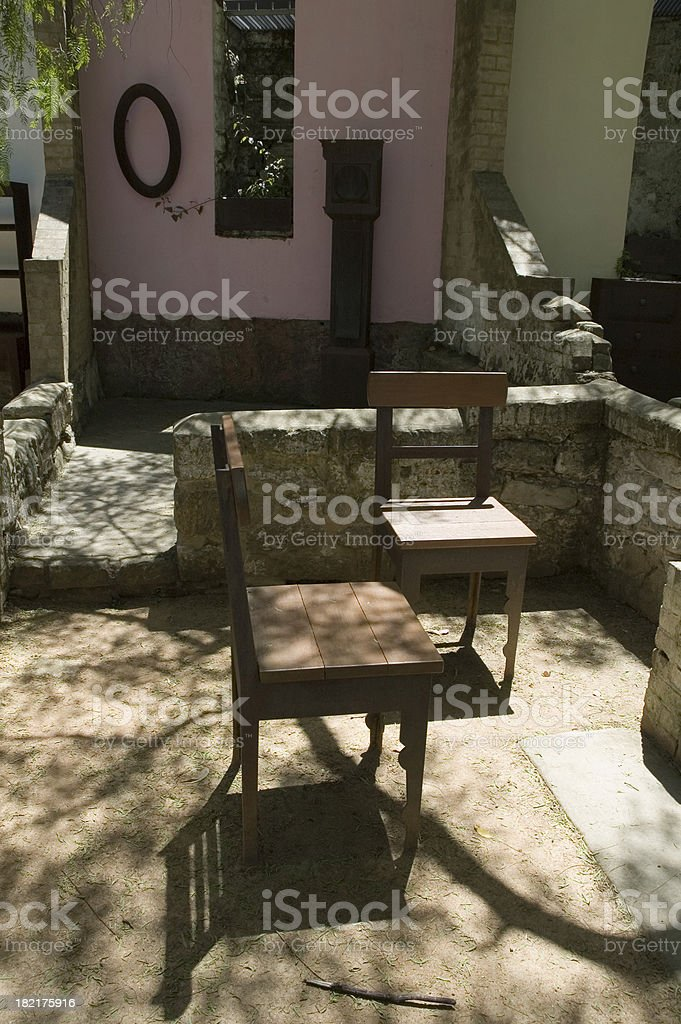 Outdoor seating royalty-free stock photo