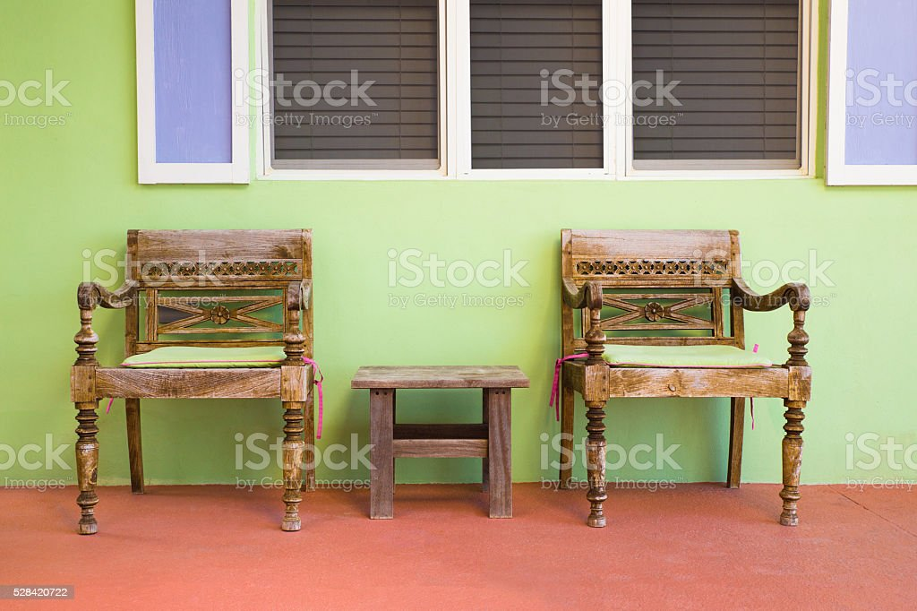 Outdoor seating stock photo