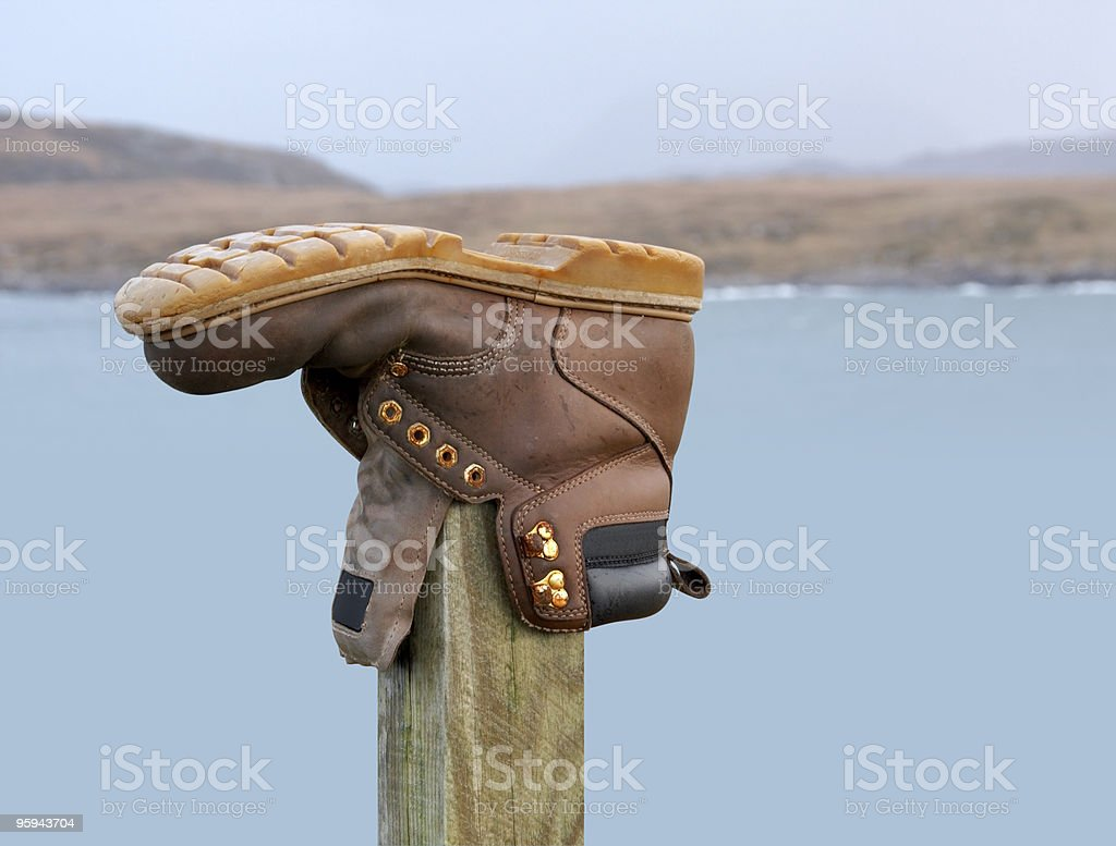 outdoor shoe on a stack royalty-free stock photo