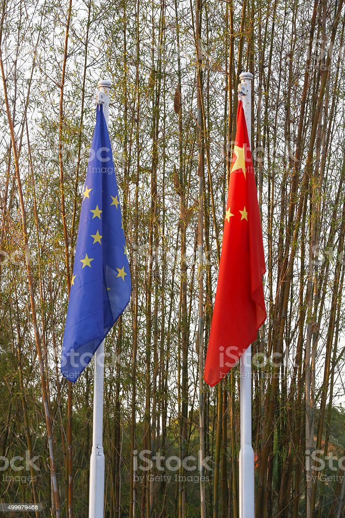 Outdoor shoot of Chinese and European Union flag stock photo