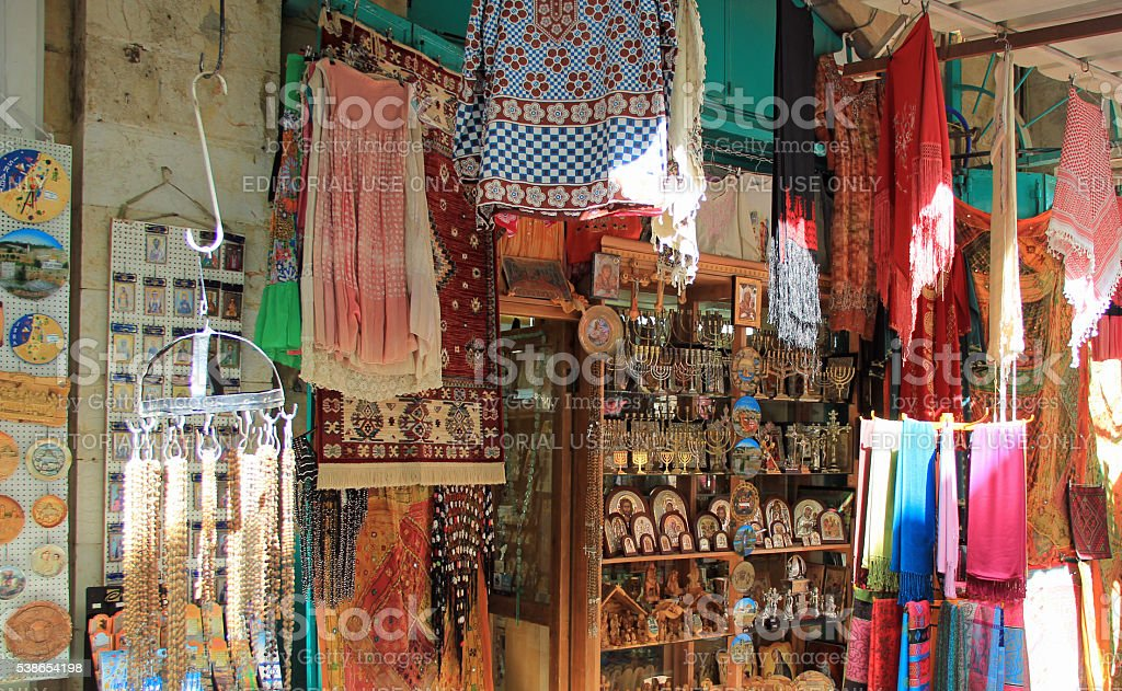 Outdoor Shop in the Christian Quarter Israel stock photo