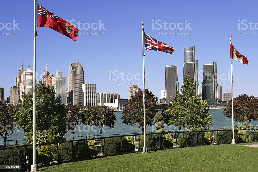 Outdoor shot of Detroit by the water stock photo