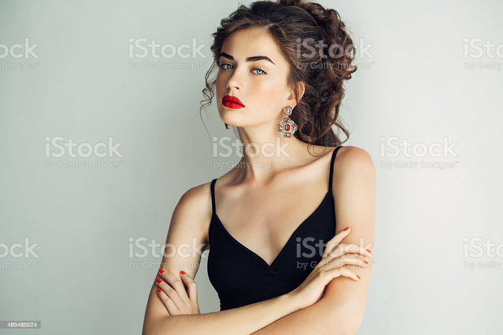 Outdoor shot of young beautiful woman stock photo