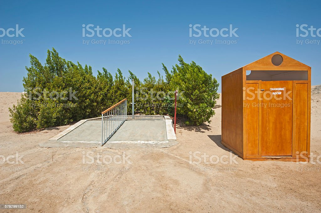 Outdoor shower on beach of tropical resort stock photo