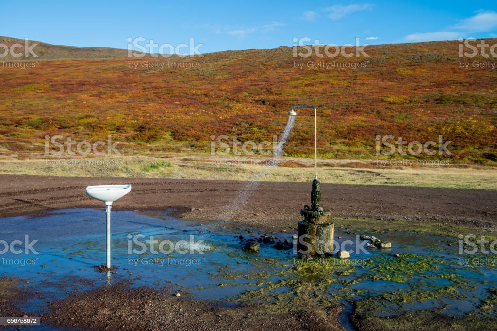 Outdoor shower works all year with geothermal water in Iceland stock photo