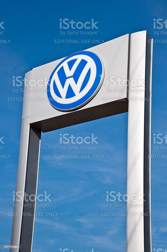 Outdoor Sign For Volkswagen Automobile Dealership stock photo