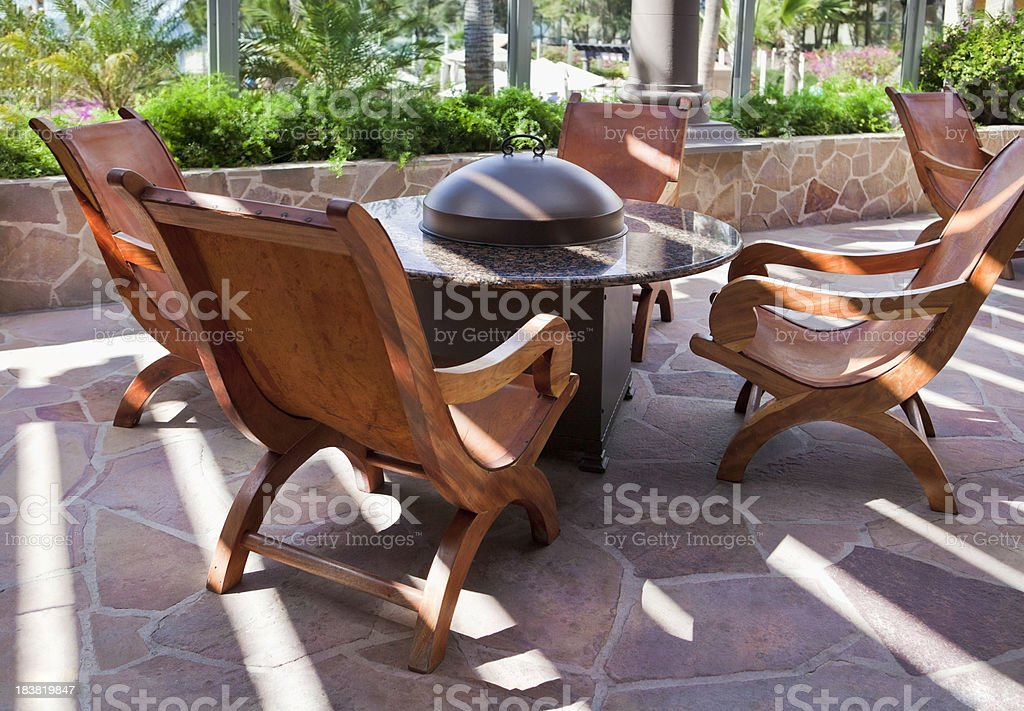 Outdoor Sitting Area with Firepit royalty-free stock photo
