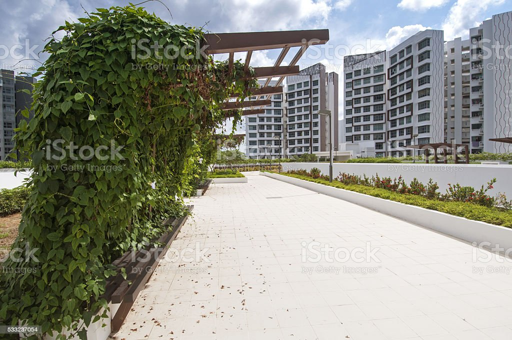 Outdoor spaces at public housing estate stock photo