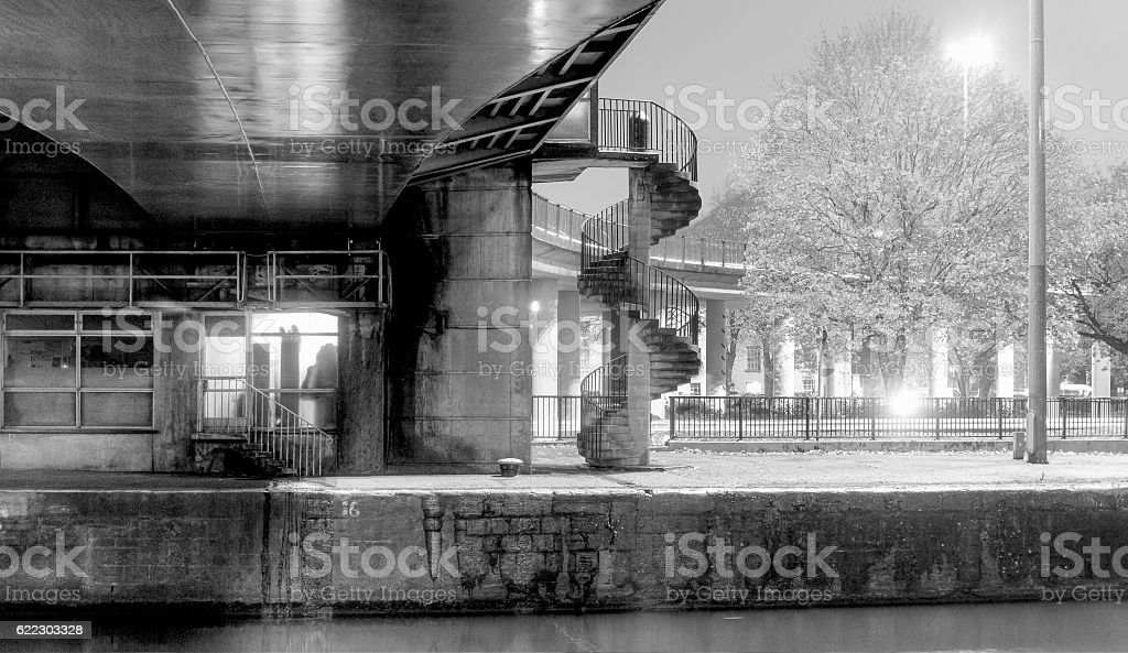 Outdoor Spiral Steps by night HDR BW stock photo