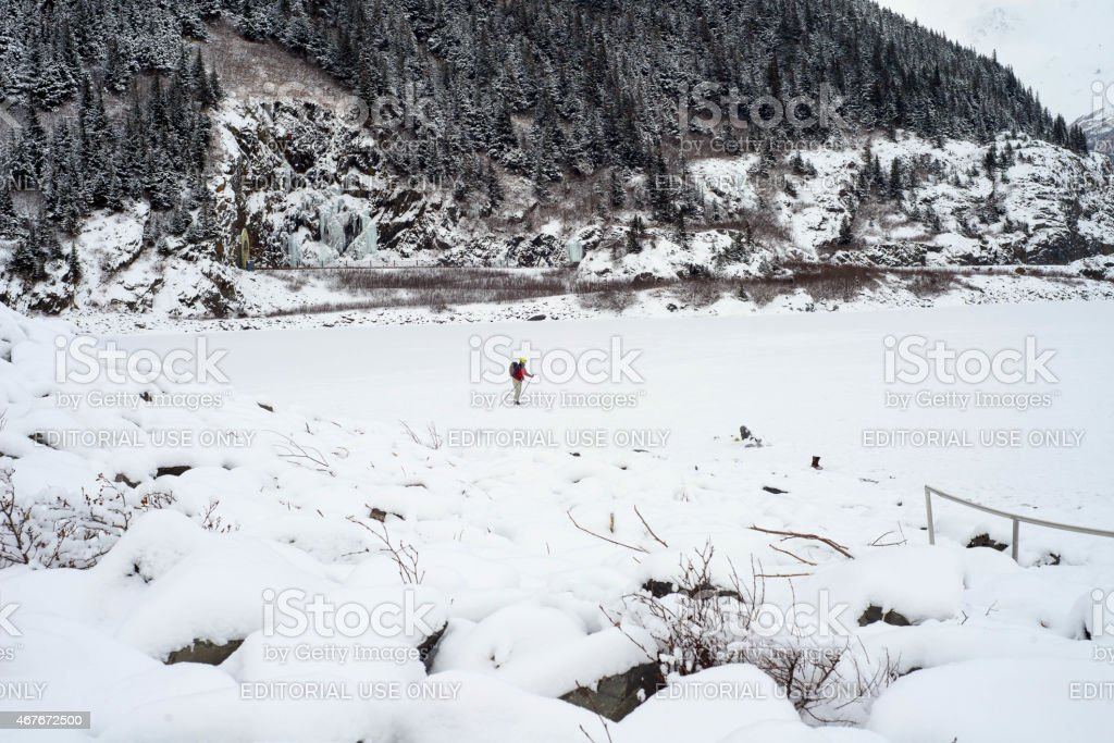 Outdoor sports activity during winter stock photo