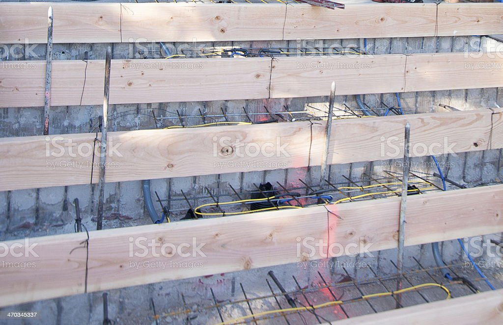 Outdoor Staircase and Heat cable being installed stock photo